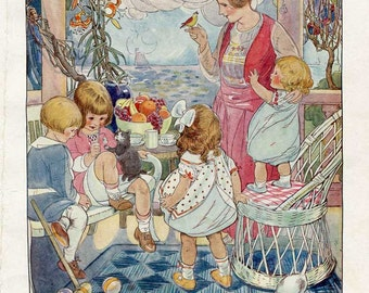 Vintage 1920's Children, Mother, Cats and Bird on Front Porch  Illustration Print w Verse by Ruth M Hallock