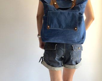New Year Sale 30% - Blue Backpack / Satchel Rucksack / Laptop bag / Tote / Women/ Unisex/ Gift / Back to school-Allison
