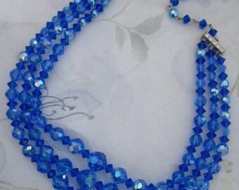 vintage machine cut crystal sapphire blue AB bead beaded multi 3 strand adjustable choker necklace w rhinestone ends - j6067