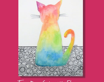 """Tie Dye Cat with Zentangle Flowers Watercolor and Ink Painting Drawing  9"""" x 12""""  Wall Art"""