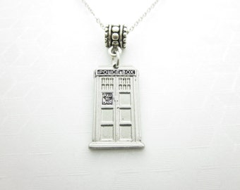 Tardis Necklace, Doctor Who Necklace, Police Box Necklace, Silver Tardis Charm, Fits Pandora Charm, Doctor Who Fan Necklace, X014