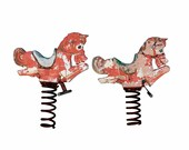 1950s Ride on Bouncy Horses, Pink Horse, Vintage Playground, Baby Nursery Project, Backyard Toys
