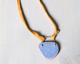 Aromatherapy Necklace,Sea Pottery Pendant, Essential Oil necklace diffuser, Blue Pottery, Diffuser Pendant, Leather Necklace, Long Boho