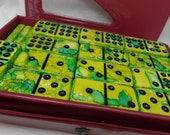 Margaritaville-- Hail to the drink!  Hand Painted 55 Piece Double Nine Standard Size Domino Set w/ Red Storage Case, alcohol inks, games