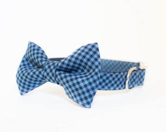 Dog Bow Tie Collar - Blue and Navy Check Plaid