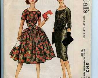 1950s  McCall's 5142 Dress Pattern with Slim or Full Skirt, Midriff and Tie at Waist Short or 3 Quarter Sleeves Uncut, OFF Size 12 Bust 30