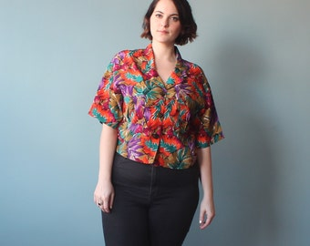 plus size top / 80s crop top / 1980s / XL