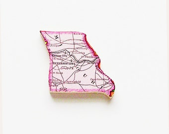 1915 Missouri Brooch - Pin / Unique Wearable History Gift Idea / Upcycled Antique Wood Jewelry / Timeless Gift Under 50