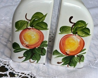 Vintage hand painted salt and pepper shakers, Painted peaches on white porcelain, kitchen and dining, art deco,  TwoSwansSwimming