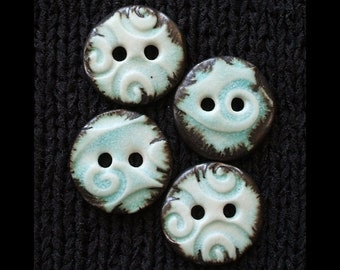 "Set of 4 Handmade Ceramic Buttons: 1"" Stone Turquoise with Metal Saturate Rims on Translucent White Porcelain"