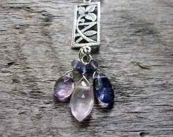 Gemstone Necklace, Briolette Necklace, February Birthstone, Amethyst Rose Quartz Iolite, Sterling Silver Necklace