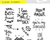 clear photopolymer valentine stamp love friendship love you to the moon and back sunshine amour trésor