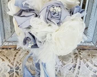 Dusty Blue Bridal bouquet , alternative bouquet, wedding flowers, brooch bouquet, Silk Flowers, Ready to ship bouquet,