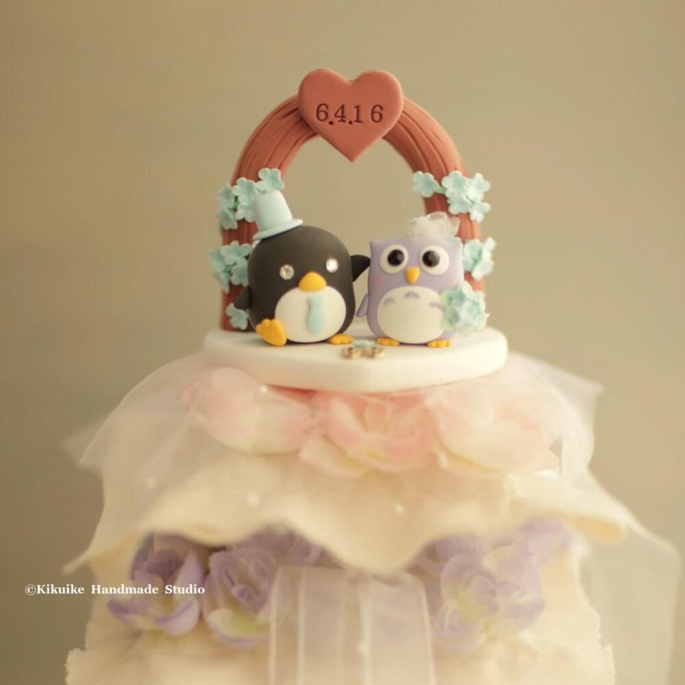 owl and penguin wedding cake topper [E10261624442414543M] - $43.99 ...
