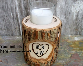 9th Anniversary Candle of Rustic Willow Wood Inscribed with Your Initials Inside a Heart