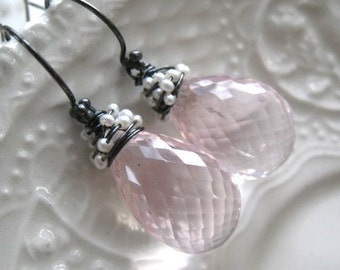 Rose Quartz and Pearl Earrings-Blush Noisette
