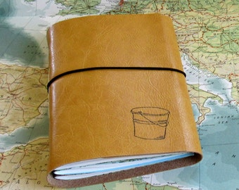 bucket list journal with maps as a travel journal - yellow faux leather by tremundo
