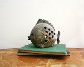 vintage 70s Scaly Fish Hanging Lantern Ceramic Candle Holder // Retro Beach House Decor