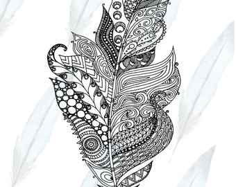 Zentangle Feather Coloring Page for Adults or Kids Printable Digital Download
