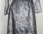 Elaine Terry Gun Metal Dress 50s 60s Belt XS S