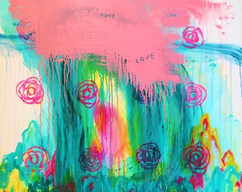 "Huge Painting on Canvas, Pink Teal Green Love Painting, Original Abstract Wall Art, Acrylic Hand Painted Flowers Colorful Modern Art 36""x48"""