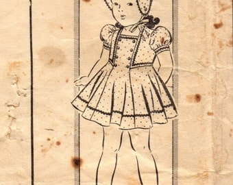 1940s Mail Order 8175 Vintage Sewing Pattern Girl's Party Dress, Panties, and Bonnet Size 6