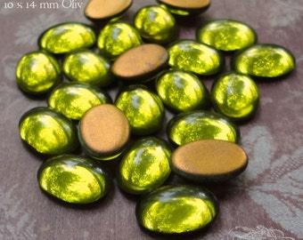 Vintage Cabochons - 10x14 mm Olive Green - 6 West German Smooth Glass Stones