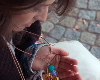 Hand Blown Glass // Necklace With Beads // Blown Glass // Lampwork Beads