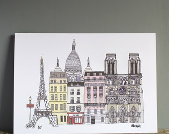 Paris Print - Paris Landmarks - A4 Illustration - Wedding Gift - Engagement Print - Paris Cityscape