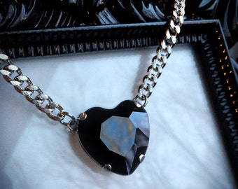 Black Heart Necklace - Black Crystal Heart Necklace - Black Heart Pendant - Black Crystal Necklace - Heart Jewelry