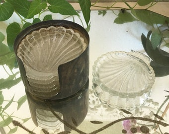 silver and glass coaster set - wm rogers silver -  6 seashell shaped glass coasters silver caddy - shabby cottage chic - hollywood regency