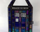 Doctor Who TARDIS Mosaic Mini Stained Glass Lantern in Blue Iridescent-Made to order