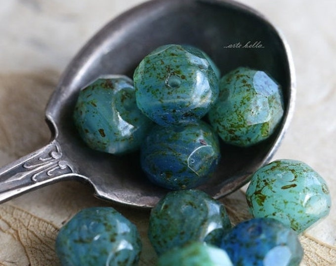 POND No. 2 .. 10 Premium Czech Picasso Rondelle Glass Beads 6x8-9mm (5199-10)