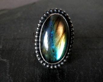Labradorite ring / striped labradorite ring / labradorite jewelry / statement ring / cocktail ring / ready to ship ring