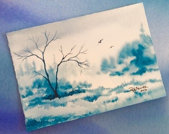 Chill an Original Watercolor Painting 5x7 inch