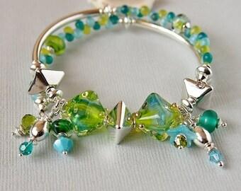 Sea Blue Green Lampwork Memory Wire Bracelet, Greek Ceramic, Sterling Silver, Swarosvki, Turquoise, Teal - DIAMOND DREAMS