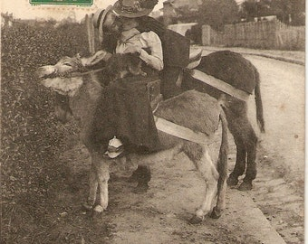 Vintage French Real Photo postcard, Romancing Lady and man riding donkeys kissing, vintage postcard