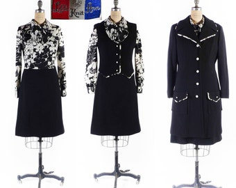 Vintage LILLI ANN Coat & Dress set // Lilli Ann Coat // Lilli Ann Dress // 70s Dress Set // 1970s Dress set - sz L - 32 Waist