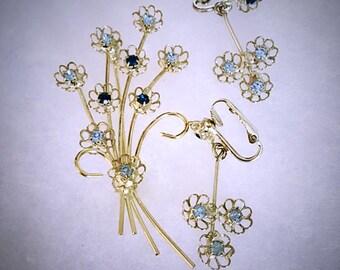 Vintage 1960s Rhinestone Brooch Earring Set .  Green Blue Stones . Flower Bouquet Jewelry Set . 60s Clip On Drop Earring Set