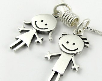 Happy boy & girl family necklace / pendant