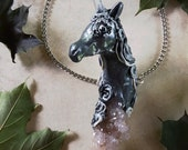 Reserved for Jelly Jan - Unicorn Necklace - Spirit Quartz Unicorn and Clear Quartz Horn - Large Unicorn Pendant Wand - Spectral Moonlight