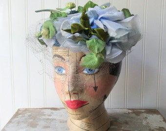 Vintage blue floral hat pillbox headpiece vintage millinery flowers shabby netting Romantic decor