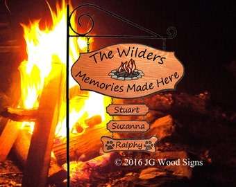 RV Name Sign Colored Campfire Graphic - with 2 Dogbones and rv sign holder - JG Wood Signs Etsy Custom RV Sign Wilder