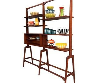 Free Shipping Danish Teak Modular Room Divider Shelving Bookcase Mid Century Modern