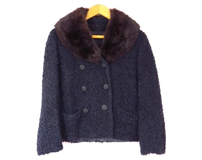 1960s Black Curly Lamb & Sable Jacket Size L