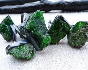 SALE Raw emerald ring | Emerald birthstone ring | Crystal ring | Rough emerald ring | Emerald in silver ring | Brazilian jewelry