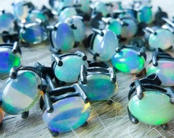 SEMI-ANNUAL SALE Fire opal studs | Natural opal earrings | Opal post earrings | Opal in silver earrings | Birthstone stud earrings
