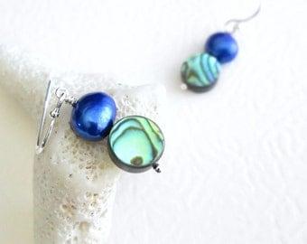 Green Shell Earrings, Cobalt Pearl Jewelry, Blue Bead Dangle Earrings
