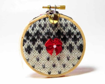 Country Christmas Decoration Recycled Sweater Ornament Christmas Keepsake Cabin Christmas Decoration Christmas Tree Ornament Rustic Ornament