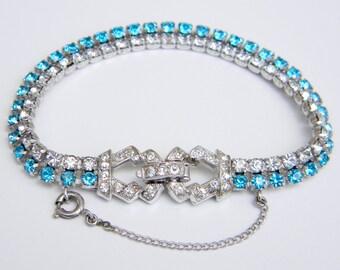 Vintage Signed KRAMER Clear and Aqua Blue Round Rhinestone Bracelet